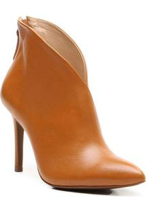 Ankle Boot Em Couro - Bege Escuro- Salto: 9,5Cm Vicenza