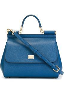 Dolce & Gabbana Bolsa Tote 'Sicily' De Couro - Azul