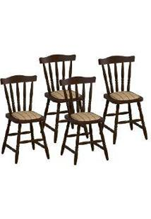 Cadeira Madeira Maciça Dayos 4 Peças Castanho Acetinado - Urbe Móveis