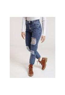 Calça Mom Jeans Destroyed Bivik Feminina Azul