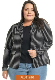 Blazer Striped Preto