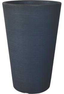 Vaso Decorativo De Polietileno Cônico Linea 98Cmx65Cm Japi Chumbo