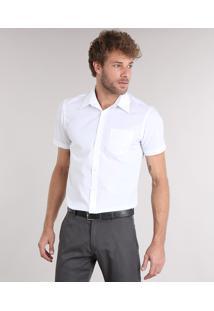 Camisa Masculina Comfort Manga Curta Com Bolso Branca