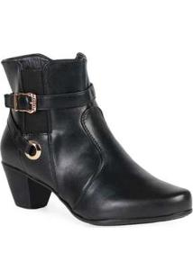 Ankle Boots Feminina Mooncity Elástico Preto