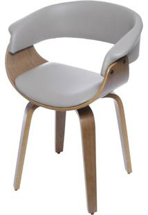 Cadeira Escandi Courino Fendi Com Base Madeira - 53496 - Sun House