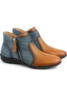 Bota Rasteira Feminina Cano Baixo F863T Tan Jeans Azul 33