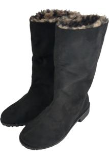 Bota De Pelo Sapatoweb Dobrável Preto