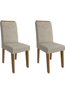Conjunto Com 2 Cadeiras De Jantar Taís I Suede Savana E Bege