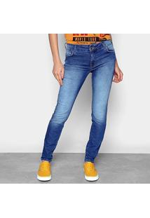 Calça Jeans Skinny Colcci Fátima Estonada Cintura Baixa Feminina - Feminino-Azul