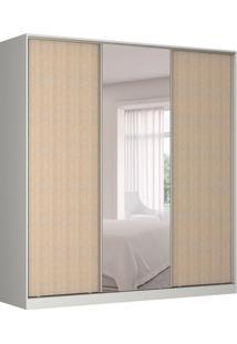 Guarda-Roupa Casal Com Espelho Tunas Iii 3 Pt 3 Gv Branco E Noce