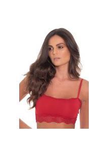 Sutiã Click Chique Básico Top Sem Bojo Faixa Renda Vermelho