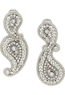 Oscar De La Renta Crystal Embellished Pendant Clip-On Earrings - Prateado