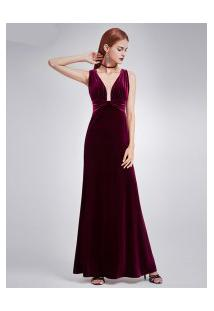 Vestido Longo Elegante Sexy Design Veludo Molhado - Borgonha
