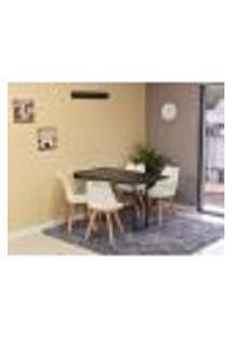 Conjunto De Mesa Dobrável Retrátil 120 X 75 Preta + 4 Cadeiras Leda - Branca