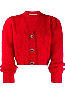 Alessandra Rich Cropped Knit Cardigan - Vermelho