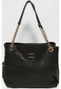 Bolsa Em Couro Texturizada- Marrom Escuro & Dourada-Anette