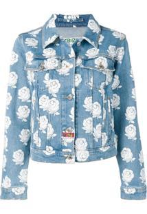 Kenzo Jaqueta Jeans Com Padronagem - Branco
