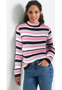 Suéter De Tricô Gola Alta Listrado Rosa