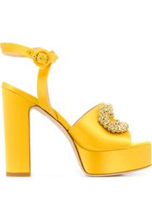 Giannico Sandália Plataforma Peep-Toe - Amarelo