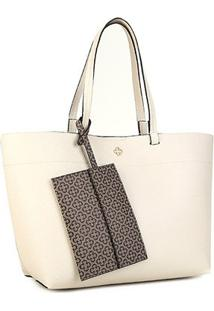 Bolsa Capodarte Soft Relax Monograma Shopper Feminina - Feminino-Off White+Bege