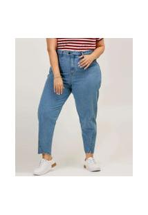 Calça Plus Size Feminina Mom Jeans Barra Desfiada