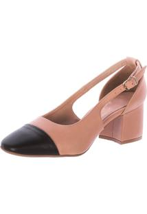 Scarpin Bicolor Beth Damannu Shoes Bege