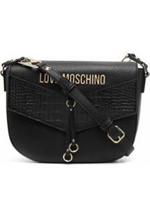 Love Moschino Bolsa Transversal Com Placa De Logo E Recortes Contrastantes - Preto