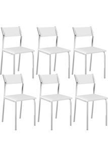 Cadeira 1709 Cromada 06 Unidades Branca Carraro
