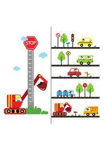 Adesivo De Parede Quartinhos Carros Na Cidade E Régua Crescimento Verde