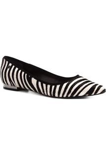 Sapatilha Couro Shoestock Bico Fino Zebra Feminina - Feminino-Preto+Branco