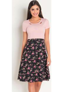 Vestido Moda Evangélica Rosa E Floral Dark