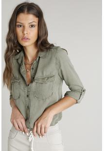 85a9fb5c8 Camisa Feminina Com Bolsos E Martingale Manga Longa Verde Militar