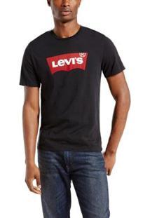 Camiseta Levis Masculina Logo Batwing Classic - Masculino-Preto