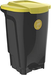 Lixeira Em Plastico T-Force Preto E Amarelo 100 Litros Tramontina 92814/099