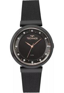 c04e094d2979e R  559,90. Zattini Relógio Aço Vidro Moderno Feminino Technos Preto ...