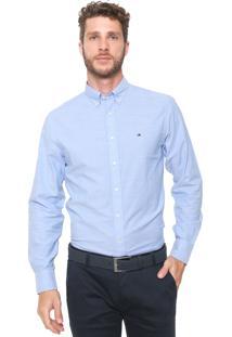 Camisa Tommy Hilfiger Reta Logo Azul