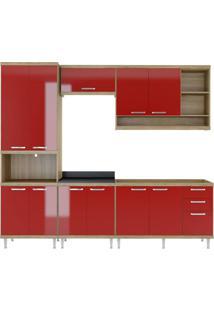Cozinha Compacta Multimóveis Sicília 5808.132.694.610 Argila Vermelho Se
