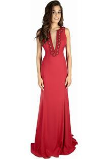 e73d13b74f Vestido Decote V Vermelho feminino