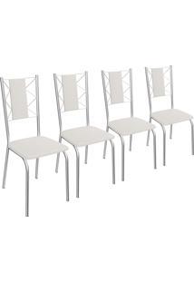 Kit 4 Cadeiras Lisboa De Metal Cromado C076 Crome