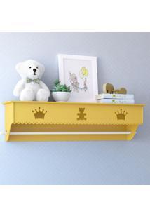 Prateleira Mdf Amarela Quarto Bebê Realeza Grão De Gente Amarelo