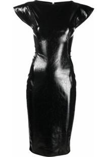 Rick Owens Vestido Midi Mangas Curtas - Preto