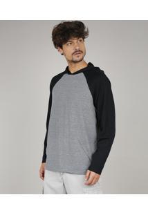 Camiseta Masculina Raglan Com Capuz E Bolso Manga Longa Cinza Mescla Escuro