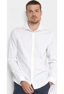 Camisa Básica Manga Longa Forum Masculina - Masculino-Branco