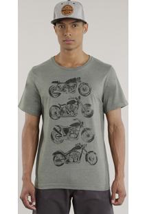 """Camiseta """"Motocicletas"""" Verde Militar"""