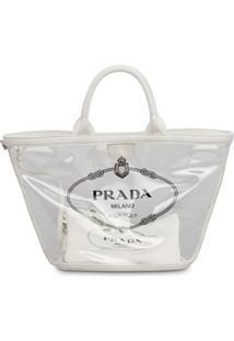 Prada Bolsa Shopping Com Transparência - Branco