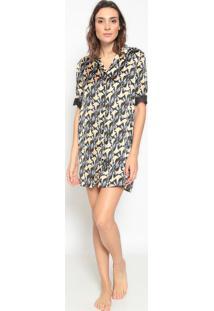 Camisola Floral Com Botãµes- Preta & Amarelo Escuro- Jogãª