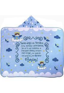 Toalha De Banho Infantil Com Capuz Anjinho Da Guarda - Azul