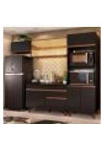 Cozinha Completa Madesa Reims 260001 Com Armário E Balcão - Preto/Rustic