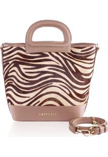 Bolsa Bucket Bag Campezzo Couro Camel E Zebra
