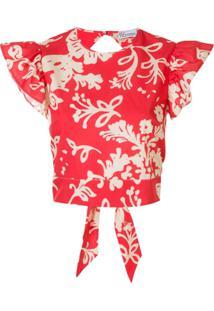 Redvalentino Blusa Cropped Com Estampa - Vermelho